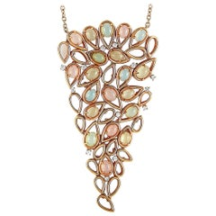 Oro Trend 18 Karat Rose Gold 0.93 Carat Diamond and Moonstone Necklace