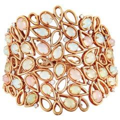 Oro Trend 18 Karat Rose Gold 1.51 Carat Diamond and Moonstone Bracelet