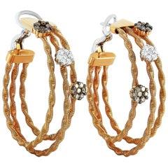 Oro Trend 18 Karat Rose Gold and 1.06 Carat Diamond Hoop Earrings