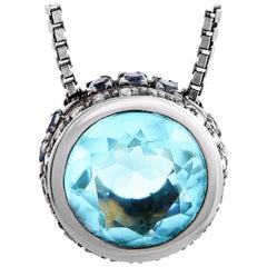 Oro Trend 18 Karat White Gold 0.12 Carat Diamond, Aquamarine and Topaz Necklace