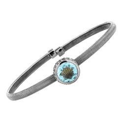 Oro Trend 18 Karat White Gold 0.15 Carat Diamond and Aquamarine Bracelet