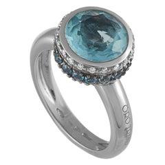 Oro Trend 18 Karat White Gold 0.15 Carat Diamond, Aquamarine and Topaz Ring