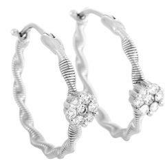 Oro Trend 18 Karat White Gold 0.40 Carat Diamond Hoop Earrings