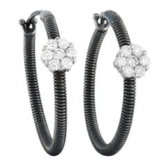 Oro Trend 18 Karat White Gold 0.46 Carat Diamond Hoop Earrings