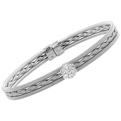 Oro Trend 18 Karat White Gold 0.50 Carat Diamond Bangle Bracelet