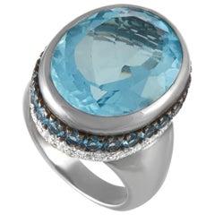 Oro Trend 18 Karat White Gold 0.69 Carat Diamond and Aquamarine Ring
