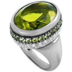 Oro Trend 18 Karat White Gold 0.69 Carat Diamond and Peridot Ring