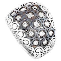 Oro Trend 18 Karat White Gold 0.76 Carat Diamond Wide Ring