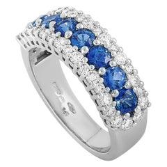 Oro Trend 18 Karat White Gold 0.85 Carat Diamond and Sapphire Ring