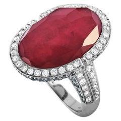 Oro Trend 18 Karat White Gold 3.38 Carat White/Black Diamond and Tourmaline Ring