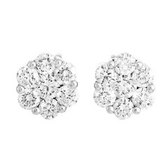 Oro Trend 18 Karat White Gold and 0.95 Carat Diamond Stud Earrings