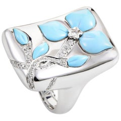 Oro Trend 18 Karat White Gold Diamond and Turquoise Flower Ring
