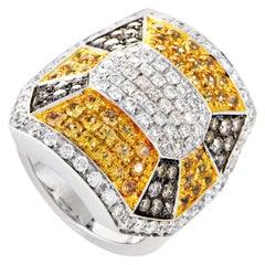 Oro Trend 18 Karat White Gold Diamond and Yellow Sapphire Ring