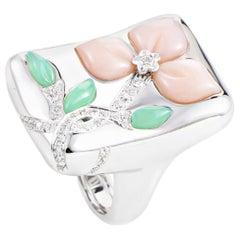 Oro Trend 18 Karat White Gold Multi-Gem Floral Ring