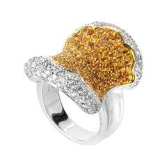 Oro Trend 18 Karat White Gold Yellow Sapphire and Diamond Ring