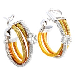 Oro Trend 18 Karat White, Yellow and Rose Gold 0.45 Carat Diamond Hoop Earrings