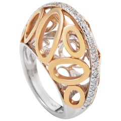Oro Trend 18 Karat Yellow and White Gold Diamond Ovals Band Ring PM-2-031616