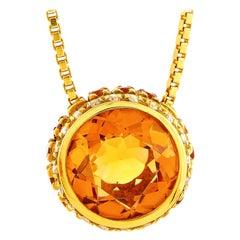 Oro Trend 18 Karat Yellow Gold 0.12 Carat Diamond and Citrine Necklace