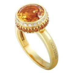 Oro Trend 18 Karat Yellow Gold 0.12 Carat Diamond and Citrine Ring