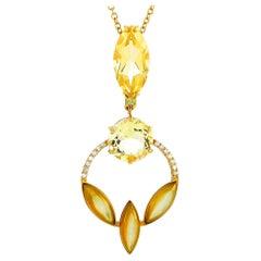Oro Trend 18 Karat Yellow Gold 0.15 Carat Diamond and Quartz Necklace