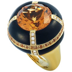 Oro Trend 18 Karat Yellow Gold 0.37 Carat Diamond Citrine and Sapphire Dome Ring
