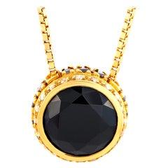 Oro Trend 18 Karat Yellow Gold 0.50 Carat White/Black Diamond and Onyx Necklace