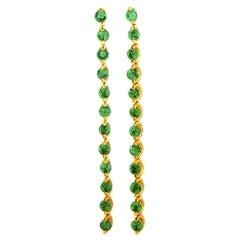 Oro Trend 18 Karat Yellow Gold 1.00 Carat Tsavorite Earrings
