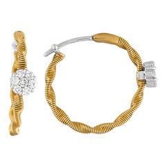 Oro Trend 18 Karat Yellow Gold and 0.34 Carat Diamond Hoop Earrings