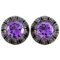 Oro Trend 18k Gold 0.45 Carat Diamond, Amethyst and Purple Sapphire Earrings
