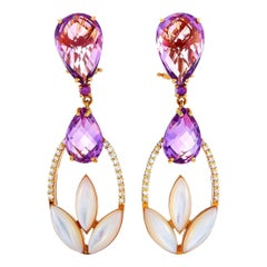 Oro Trend 18K Rose Gold 0.35 ct Diamond, Amethyst and Mother of Pearl Earrings