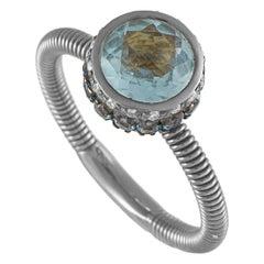 Oro Trend 18K White Gold 0.10 Ct Diamond, Aquamarine and Topaz Round Band Ring