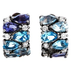 Oro Trend 18K White Gold 0.25 Ct Diamond, Iolite, Aquamarine and Topaz Earrings