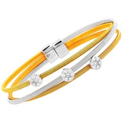 Oro Trend 18K Yellow, White and Rose Gold and 0.75 Carat Diamond Bangle Bracelet