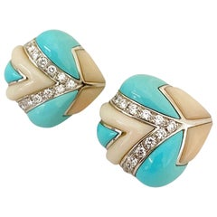 Oro Trend for Cellini 18 Karat White Gold Turquoise, Coral and Diamond Earrings