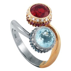 Oro Trend White and Rose Gold Diamond, Aquamarine, Topaz, Ruby and Garnet Ring