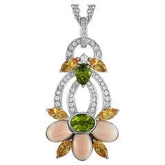 Oro Trend White Gold 1.07 Carat Diamond Imperial Topaz, Coral & Peridot Necklace