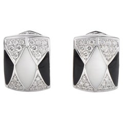 Oro Trend Women's 18 Karat White Gold Diamond Onyx and White Agate Earrings