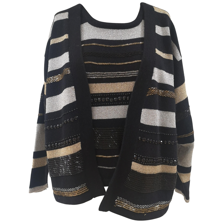 Oronero twin-set shirt and cardigan black gold silver wool