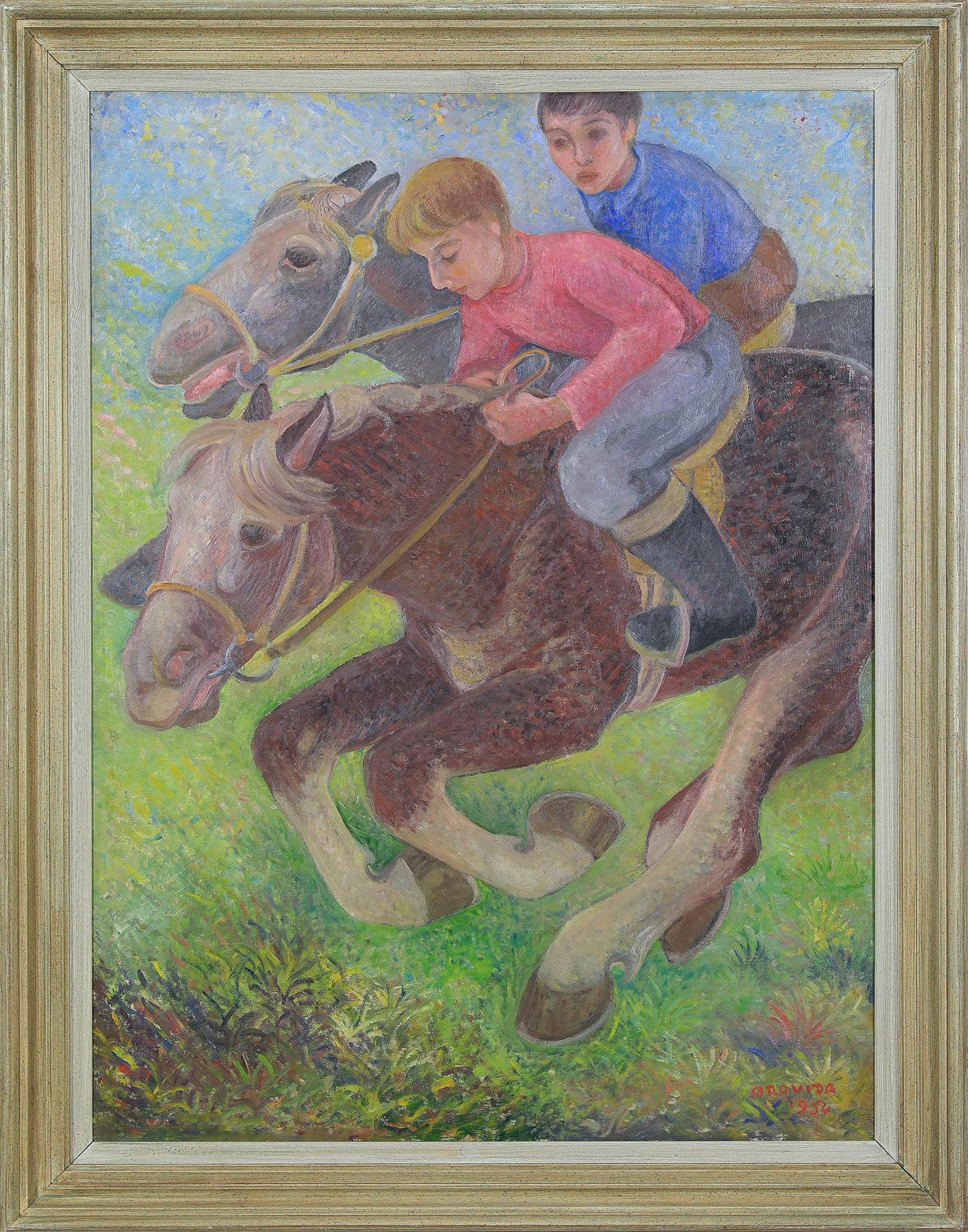 Animal painting by Orovida Camille Pissarro titled 'Exercising Ponies'