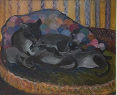 Siamese cat + kittens, oil on canvas 1961, by Orovida Pissarro, + authentication