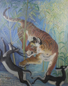 Tiger Surprises Black Buck by OROVIDA PISSARRO - Animal Painting, British Artist