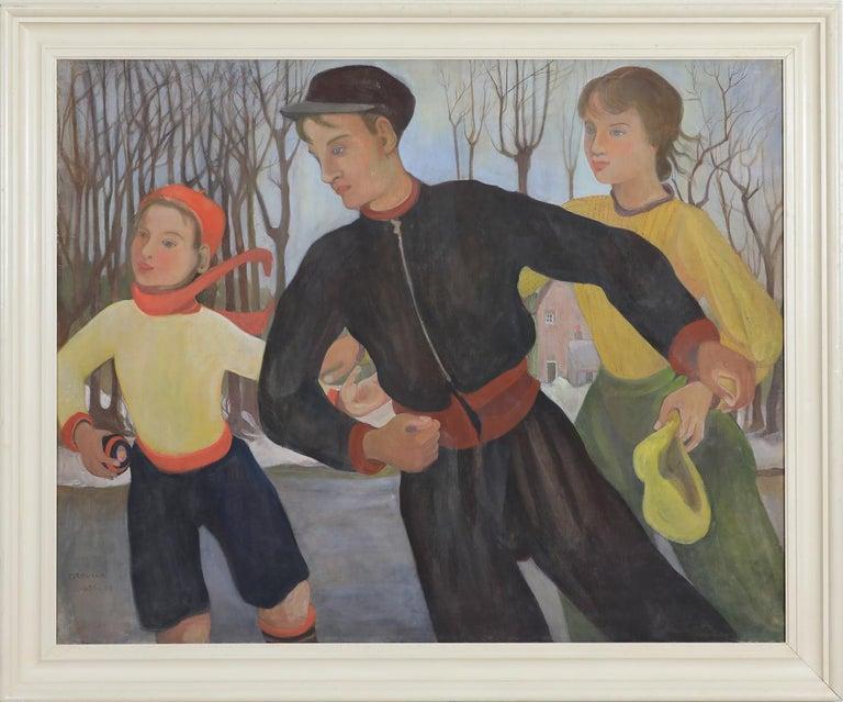 Winter (The Skaters) by Orovida Camille Pissarro - Winter scene painting - Painting by Orovida Pissarro