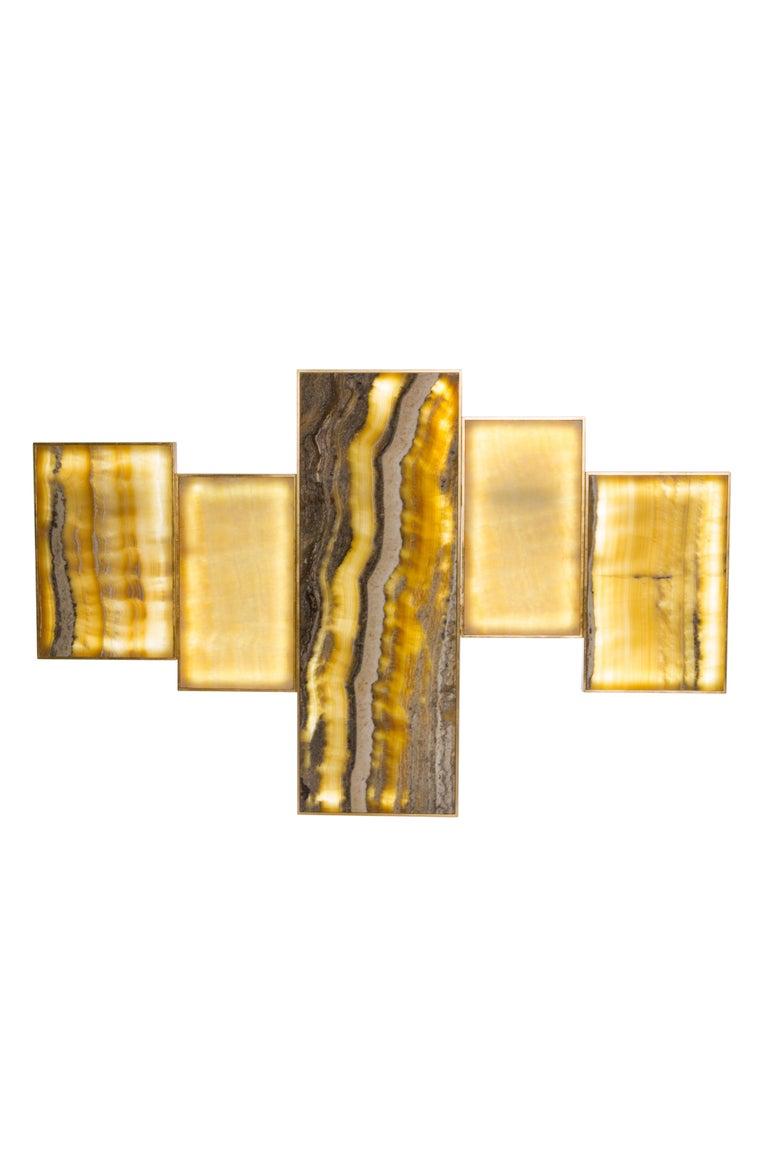 Gilt Orpheu Decorative Wall Art Piece Gold Leaf Gilding Calacatta Lake Sunrise Marble For Sale