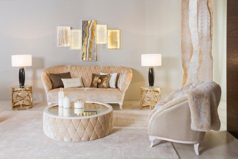 Contemporary Orpheu Decorative Wall Art Piece Gold Leaf Gilding Calacatta Lake Sunrise Marble For Sale