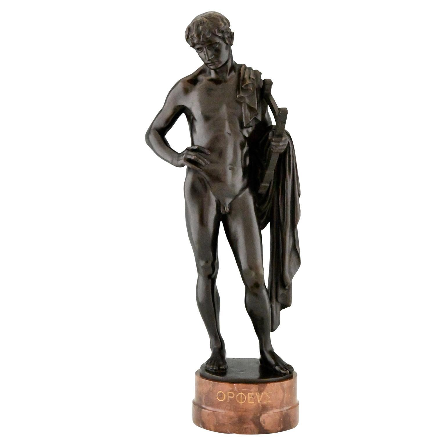 Orpheus Antique Bronze Sculpture of a Male Nude with Lyre by George Mattes 1900