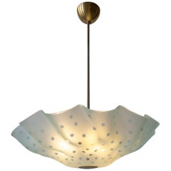 Orrefors Attributed, Rare Swedish Frosted Glass & Brass Handkerchief Chandelier