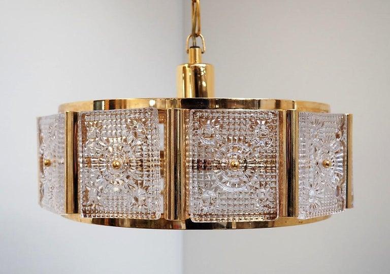 Moderne Kronleuchter Gold ~ Orrefors messing and glas kronleuchter von carl fagerlund