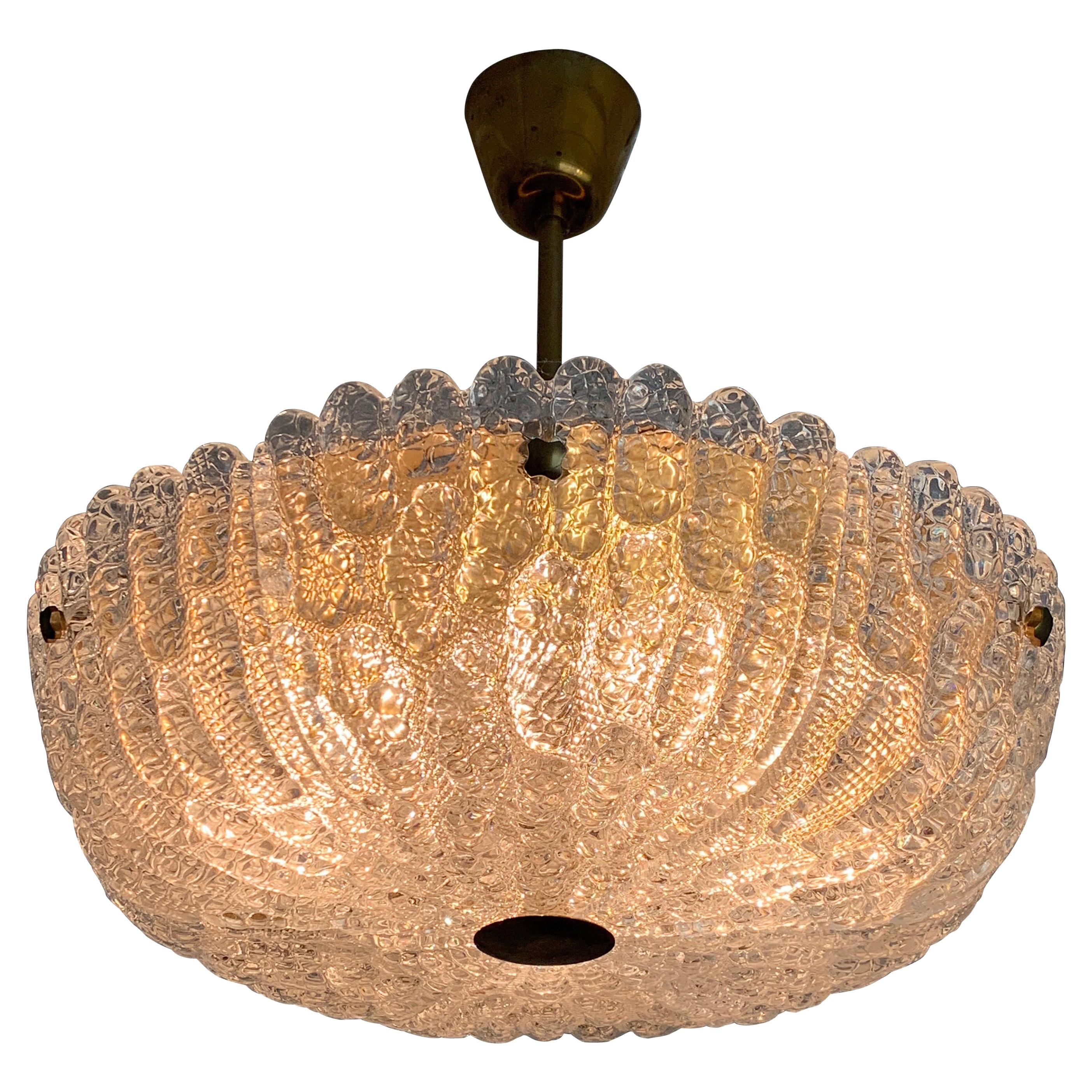 Orrefors Chandelier by Carl Fagerlund Crystal and Brass, Orrefors Sweden, 1960