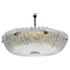 Orrefors Chandelier by Carl Fagerlund Crystal and Brass, Sweden, 1960