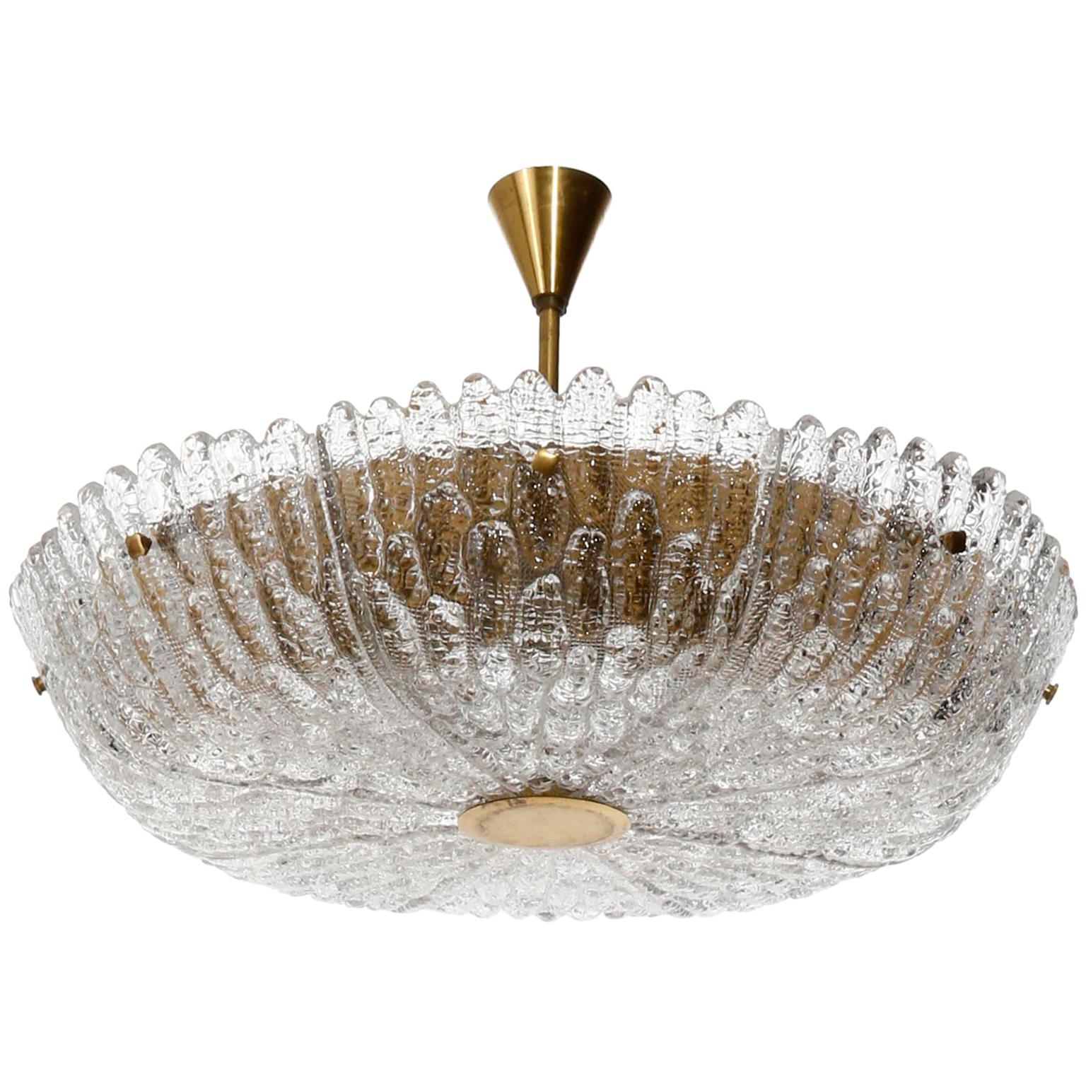 Large Orrefors Chandelier by Carl Fagerlund, Glass Brass, Sweden, 1960s